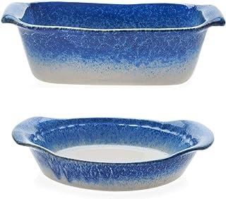 Libbey Artisan Glazed Ceramic Stoneware Loaf Bake Dish Bundled with Pie Baker Dish Serving Plate, Blue and Cream