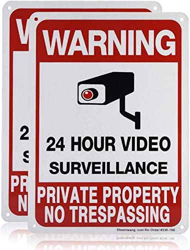 Sheenwang 2-Pack Private Property No Trespassing Sign, video surveillance signs outdoor, UV Printed .040 Mil Rust Fre...