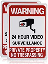 Sheenwang 2-Pack Private Property No Trespassing Sign, video surveillance signs outdoor, UV Printed .040 Mil Rust Free Alu...