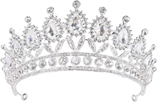 TOCESS Wedding Tiara and Crown for Women and Girls Pageant Queen Bridal Rhinestone Crown Princess Birthday Tiara Crystal for Wedding Festival Party (Sliver)