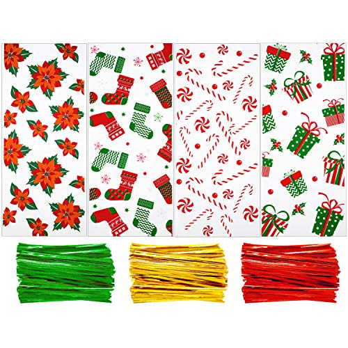 200 Pieces Christmas Cellophane Bags Christmas Cello Treat Bags Candy Bags Cookies Goody Bags with 300 Pieces Twist Ties for Theme Party Supplies, 4 Styles