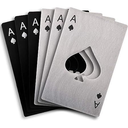 Cozihom Abrebotellas de 6 piezas, abrebotellas plano de acero inoxidable, abrebotellas de póker, abrebotellas Spade, plateado y negro