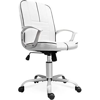 Amazon Com Office Chair Leather Mid Back Home Office Chair Bonded Leather Computer Swivel Task Desk Chair White Kitchen Dining