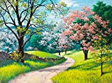 AXEARTE 1000 Pieces Puzzles for Adults, Spring Road Oil Painting Jigsaw Puzzles, Entertainment Wooden Puzzles Toys Artwork, DIY Collectibles Modern Home Decoration 29x19 Inches