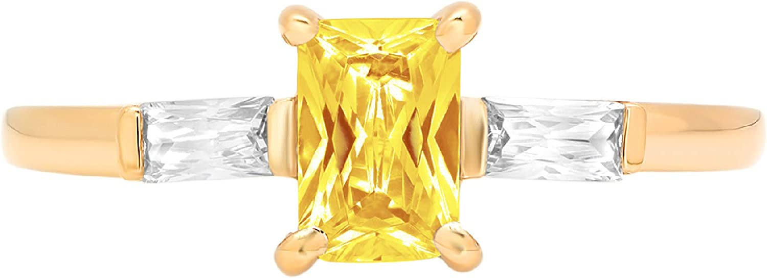 1.05ct Emerald Baguette cut 3 stone Solitaire with Accent Canary Yellow Simulated Diamond Ideal VVS1 Engagement Promise Statement Anniversary Bridal Wedding Ring 14k Yellow Gold