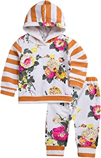 Kissybaby Baby Girl Clothes Set Flower Print Hoodies Tops + Floral Long Pants Outfit Infant Toddler 0-7T