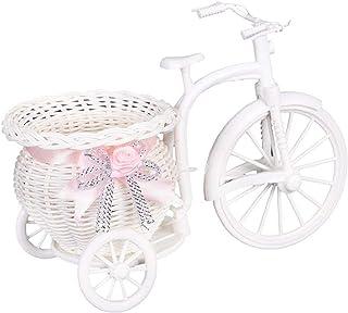 1pcs Plastic White Tricycle Bike Design Flower Basket Container for Flower Plant Home Weddding Decoration 26 * 16 * 12cm