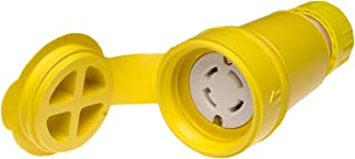 Woodhead 29W75 Watertite Wet Location Locking Blade Connector, 3-Phase, 4 Wires, 3 Poles, NEMA L15-30 Configuration, Yellow, 30A Current, 250V Voltage