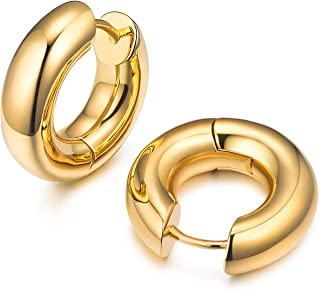 14K Gold Plated Chunky Tiny Hoop Earrings for Women