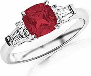 1.1 Carat t.w 14K White Gold Prong Set Round And Baguette Diamond Engagement Ring w/a 0.75 Carat Cushion Cut Red Ruby Heirloom Quality