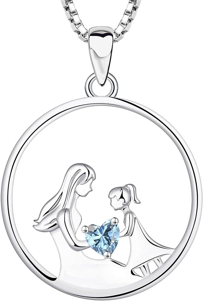 Mutter und Tochter Halskette 925 Sterling Silber 12 Geburtsstein Zirkonia Anhänger Halskette Geschenke für Mutter Frauen, 45-48 CM