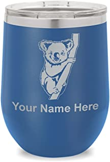 Wine Glass Tumbler, Koala Bear, Personalized Engraving Included (Dark Blue)