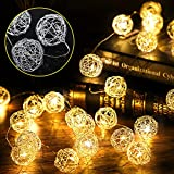 Globe Rattan Ball Fairy String Lights, 10FT 30 LEDs Silver Metal Wicker Balls Battery Operated Lights for Indoor Outdoor Bedroom Home Wedding Anniversary Party Decoration (Warm White)