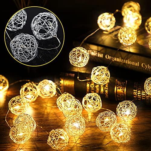 Luces de Cadena de Hadas de Bola de Ratán de Pascua, Luces Funcionadas con Pilas de 30 Globos LED de 10 Feet para Decoración de Fiesta Interior Exterior Dormitorio (Blanco Cálido)
