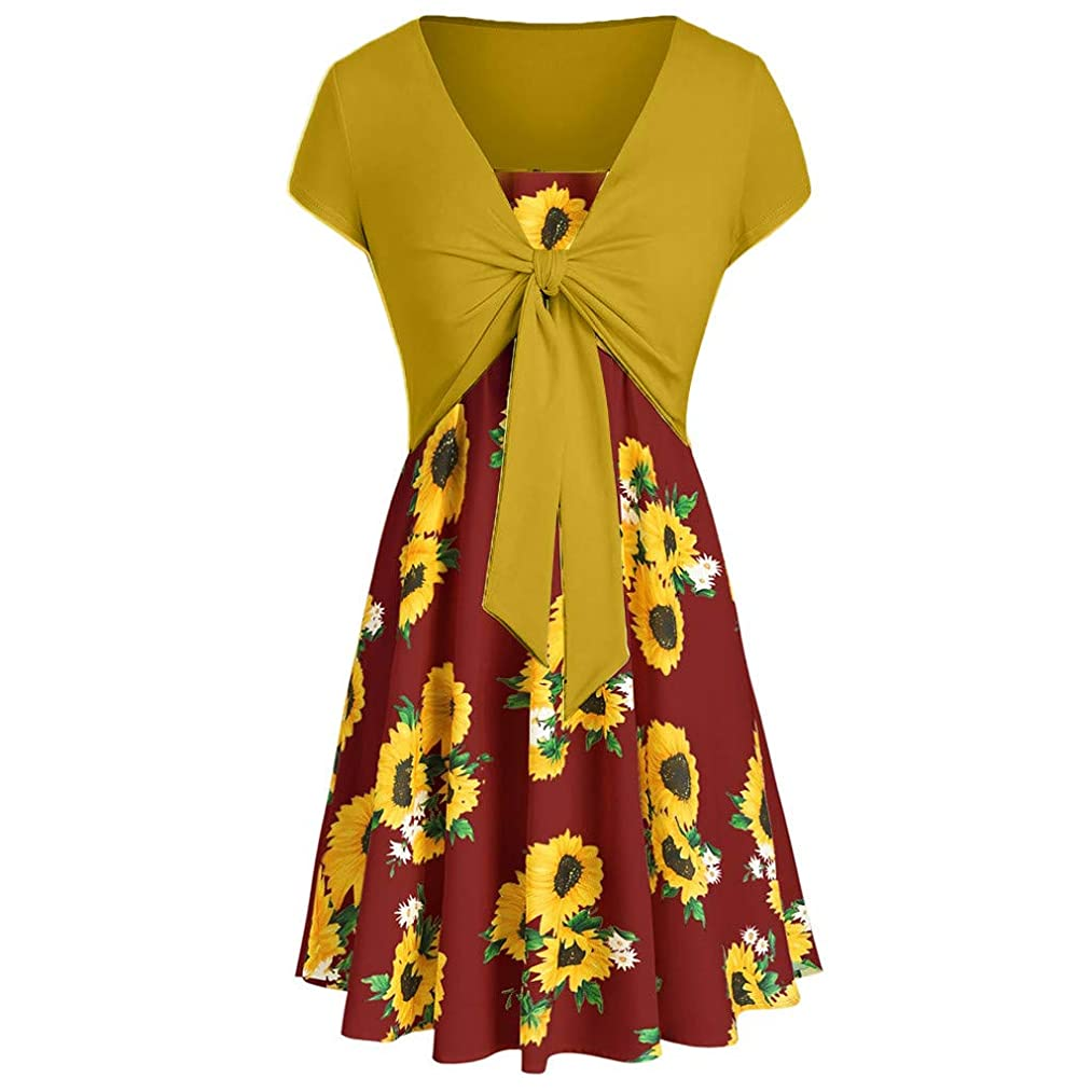 Fitfulvan Women's Casual Summer Cami Flower Dress with Crop T-Shirt Printed Loose Dress Two-Piece Suit