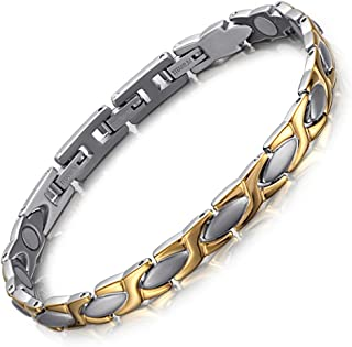 Elegant Titanium Magnetic Health Bracelet Pain Relief for Arthritis Balance Wristband with 3 Smart Buckle