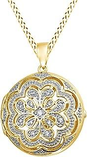 Vintage Style Cubic Zirconia Flower Medallion Locket Pendant in 14K Gold Over Sterling Silver