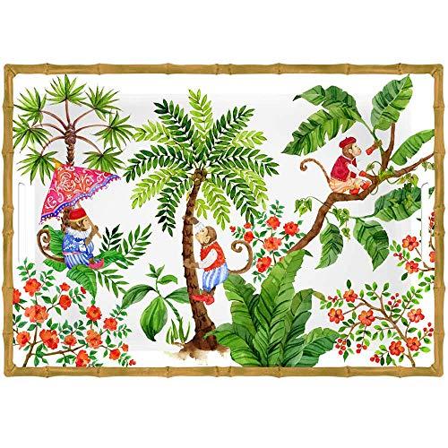 Les Jardins de la Comtesse - Gran Bandeja de Servicio de Melamina Pura - Contorno Bambú - Monos de Bali - 50 cm - Coral Rojo y Verde - Bandeja Grande con Asas - Colección Vajilla Irrompible MelARTmine