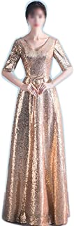Women Sexy Fashion V-Neck Sequined Half Sleeve Elegant Formal Maix Long Dress (Color : Gold, Size : XXL)