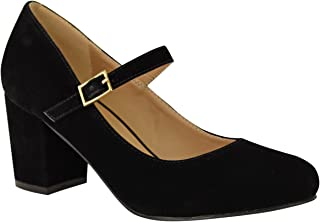 Fashion Thirsty Womens Mid Block Heel Mary Jane Office Work Formal Strap Dolly Pumps Shoes