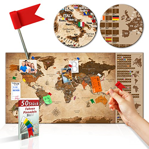 *decomonkey Rubbelweltkarte Pinnwand 90×45 cm Weltkarte zum Rubbeln mit Fahnen/NationalfLaggen Rubbelkarte Full HD Scratch Off World Travel Map Landkarte inkl. 50 Markierfähnchen Pinnadeln*