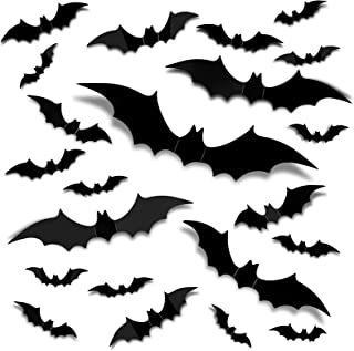 56PCS 4 Sizes Halloween 3D Bats Decoration,Realistic PVC Scary Bats Window Decal Wall Stickers for DIY Home Bathroom Indoo...
