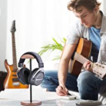 Headphones Stand, Walnut Headphone Holder Headset Stand Aluminum Supporting Bar Flexible Headrest and Wooden Base for All Headphones Sizes