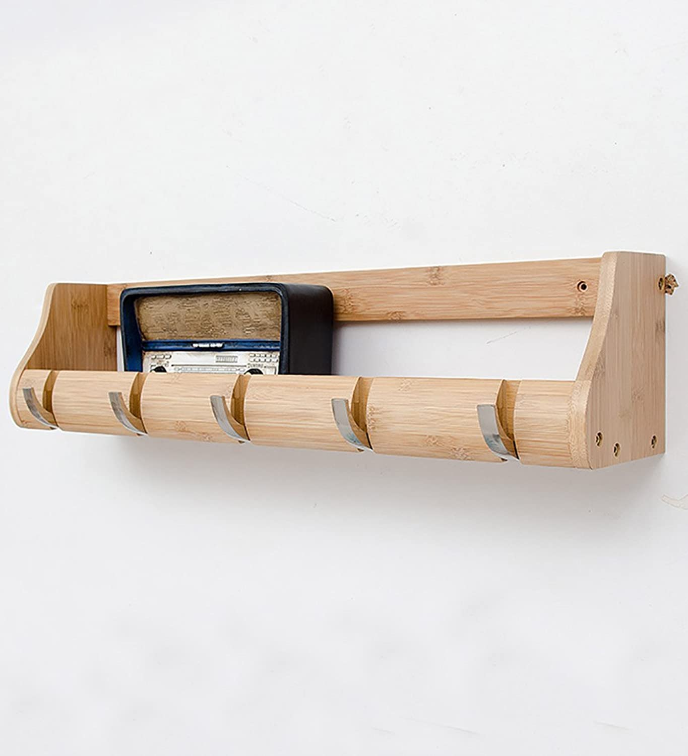WUFENG Wall-mounted Coat Rack Bamboo Simple Shelf Metal Hook Available In 15 Styles High 14.5cm ( color   Natural 5 hooks )