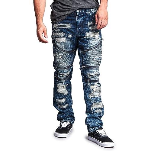 5e671353248 G-Style USA Men's Biker Distressed Slim Jeans - Acid Wash Knee Hole
