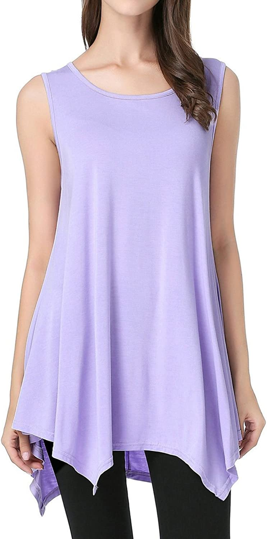 JollieLovin Womens Plus Size LooseFit Sleeveless TShirt Tank Tunic Top