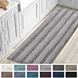 Bath Mats for Bathroom Non Slip Luxury Chenille Striped Bath Rug Runners Large 59x20 Absorbent Non Skid Fluffy Soft Shaggy Rugs Washable Dry Fast Plush Carpet Mats for Bath Room, Tub - Dove
