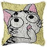 Kit de Gancho de pestillo DIY Funda de Almohada Cojín de Crochet Hilo Cruce Kits Ajuste para Adultos y Principiantes Cojín Cojín Alfombra Freno Almohada Funda de Almohada Kit 43x43cm,A,02