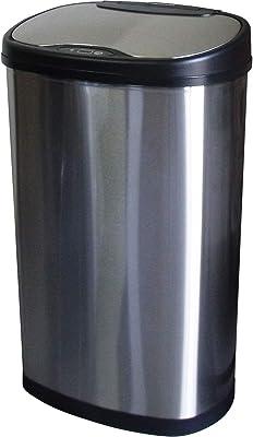 SunRuck サンルック 電動ゴミ箱 ゴミ箱 センサー 上開き 自動開閉式 ごみ箱 50L 2分別 ダストボックス センサー式 手が触れない 自動開閉 分別 スリム 家庭用 おしゃれ スタイリッシュ 大容量 自動 インナーボックス付き センサー感知 手をかざす 電池式 SR-ELT5012 シルバー