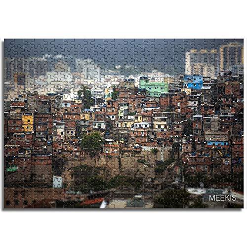 OKJK Mini Puzzles für Erwachsene Kind 1000 Stück Rio de Janeiro Stadtzentrum und Slums Brasilien Papier Puzzles für Jugendliche und Erwachsene einzigartige 38x26cm