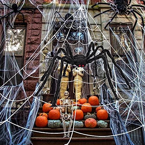 Ragnatela Halloween Decorazione, 5x4.8m Ragnatela Triangolare con Ragno Grande e Cotone Ragno, Halloween Spider Web Set, Ragnatela Decorazione per Interni Esterni Casa Stregata Feste