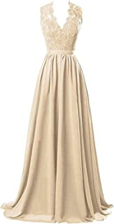 V-Neck Long Chiffon Bridesmaid Dresses Lace Open Back Prom Evening Dress NND029