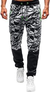 WUAI-Men Camouflage Jogger Pants Casual Slim Fit Elastic Waist Drawstring Workout Track Pants Tapered Sweatpants