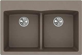 Elkay Quartz Classic ELGDLB3322GR0 Equal Double Bowl Drop-in Sink with Aqua Divide, Greige