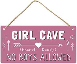Girl Cave Sign, Girls Room Decorations for Bedroom,...