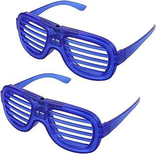 2pcs LED Light Up Plastic Glasses Flashing Shutters Sunglasses Eyewear Party Props 6 Lights Blue