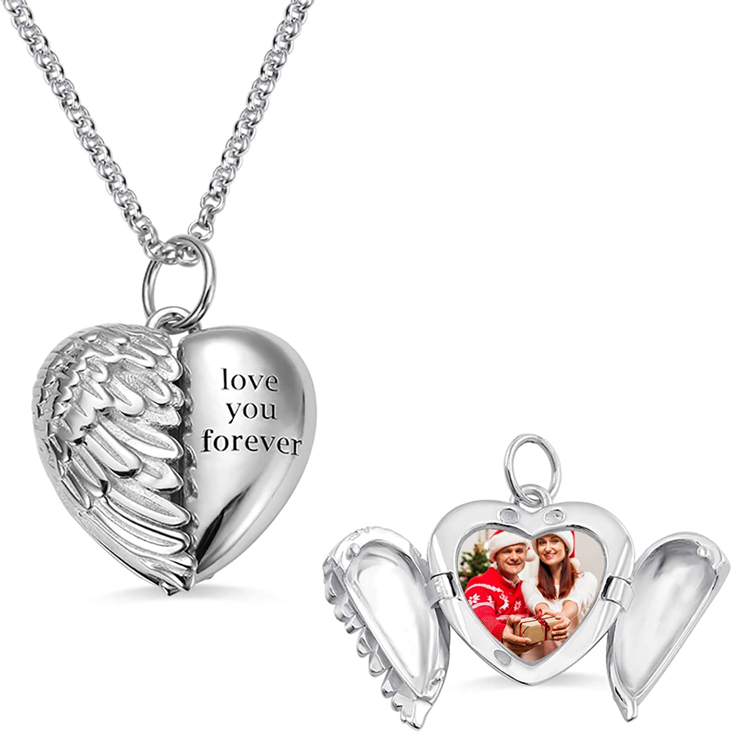 Heart Max 59% OFF Shaped Photo Box Customized Carved Necklace Text Max 57% OFF