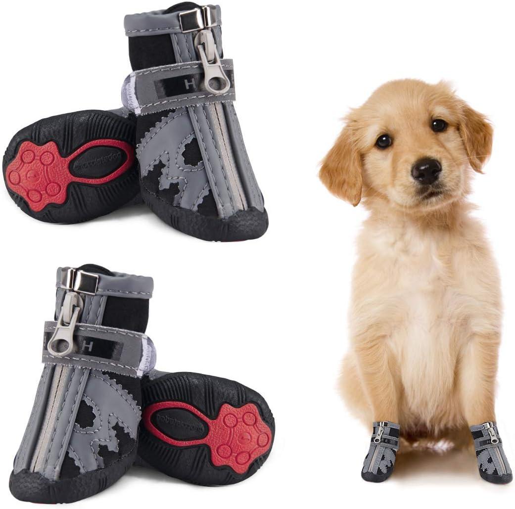 Dociote Hundeschuhe pfotenschutz mit Anti-Rutsch Sohle Klettverschluss Rei/ßverschluss wasserdicht Schneeschuhe f/ür kleine Hunde 4 St/ück reflektierendem Riemen