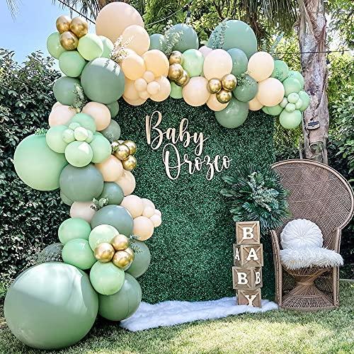 Kit de arco de globos verde salvia,108 piezas arco de globos para cumpleaños verde oliva, fiesta de cumpleaños para Bodas Ducha Nupcial Fiesta de Cumpleaños Fiesta Graduación Decoración Reutilizable