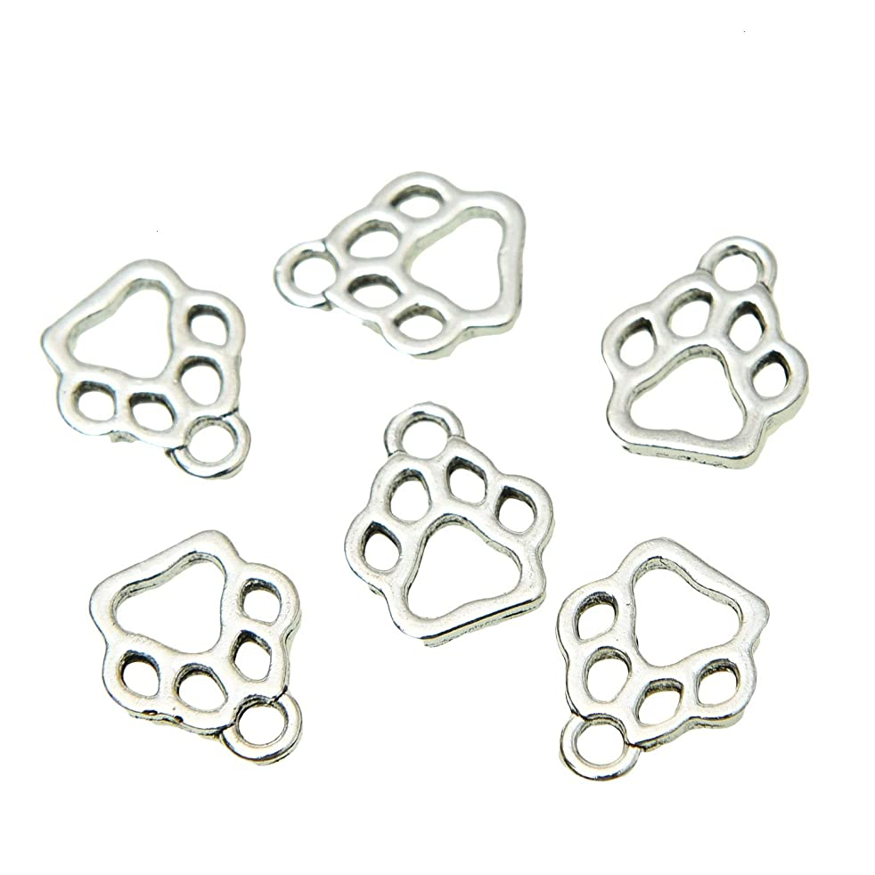 Monrocco 80pcs Vintage Antique Silver Alloy Animal Bear Cat Dog Paw Charms Pendant Jewelry Findings for Jewelry Accessory Making Necklace Bracelet DIY (19x17mm)