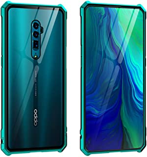 【M&Y】 OPPO Reno 10x Zoom バンパー OPPO Reno 10倍ズーム アルミバンパー + ガラス背面パネル付き OPPO Reno 10x Zoom クリア 透明 ガラス背面カバー付き 6.6インチ OPPO Reno 10x Zoom 背面ケース Reno 10x Zoom カバー MY-Reno10-BL-90620 (グリーン)