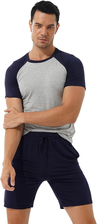 Freebily Men's Pajama Set Contrast Color Short Sleeve T-shirt with Drawstring Shorts Homewear