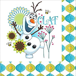 """Disney Frozen Fever Luncheon Napkins Birthday Party Tableware Supply (16 Pack), Multi Color, 6.5"""" x 6.5""""."""
