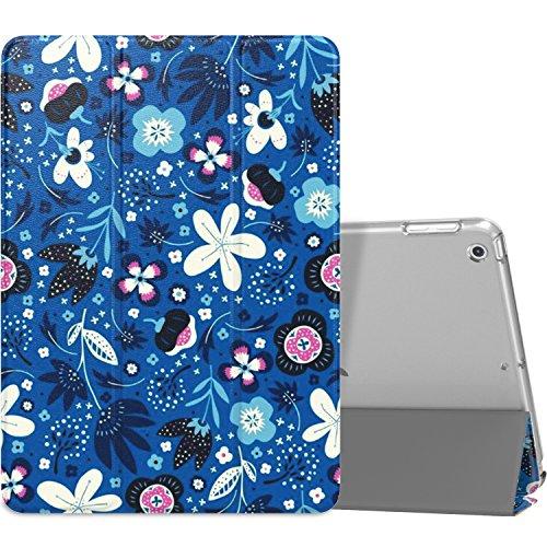 MoKo Hülle Kompatibel für iPad 9.7 2017/2018, 5./6. Generation - PU Leder Tasche Schutzhülle Schale Smart Case mit Transluzent Rücken Deckel Auto Schlaf/Wach Stanfunktion, Blau Blumen