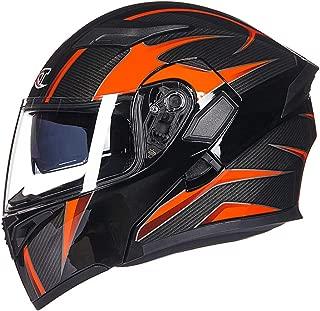 LYJNBB Full Face Motorcycle Helmets, Modular Flip up Dual Visor Adult Helmet Motocross, 9 Colors,E,XL