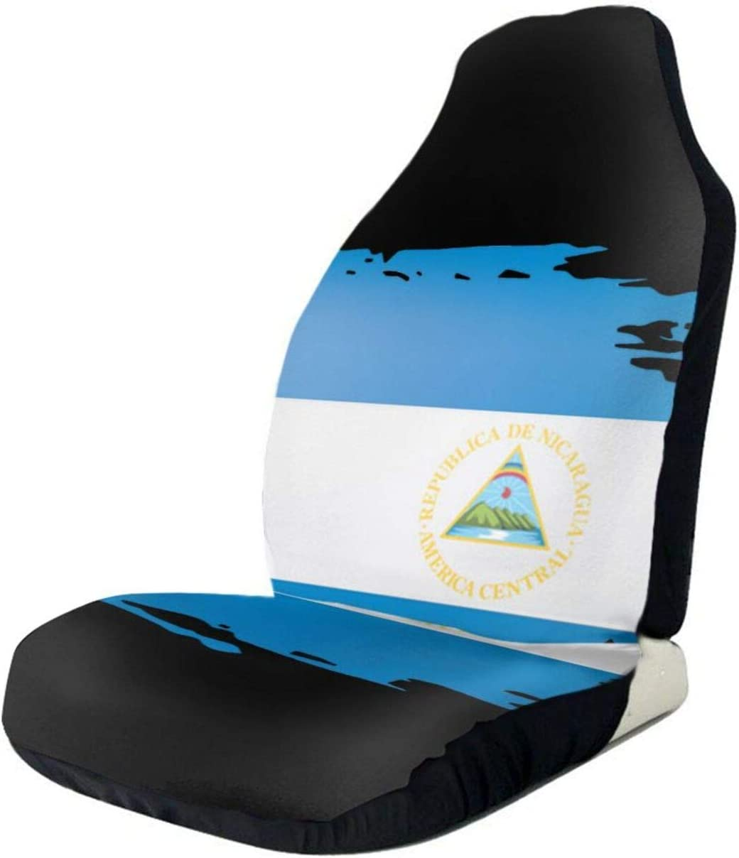 Nicaragua Flag on White Grunge Car F Front Seat Seats Cover Only shop Discount is also underway